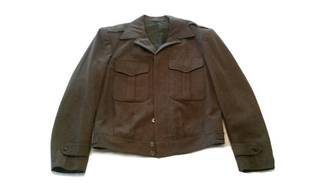SALE Vintage Men's 1940s US Military Wool Field Jacket (Ike)- OD