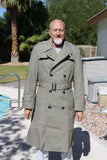 BLOWOUT SALE New Double Breasted Military Trench Raincoat w/liner - Sage