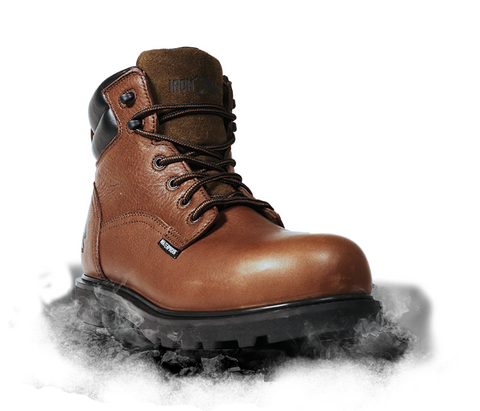"Iron Age Hauler 6"" Plain Toe EH Waterproof Work Boot - Brown"