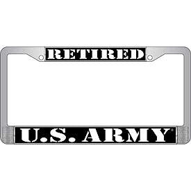 License Plate Frame - US Army Retired - Chrome (EM-LP3930)