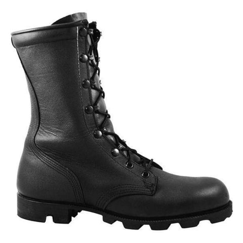 McRae All-Leather Combat Boot with Panama Sole - Black (MR-6189)