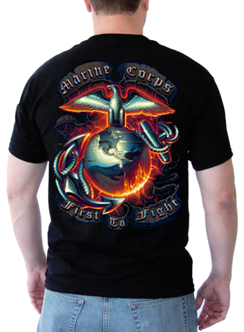"Mens Black Ink Marine Corps. ""First To Fight""  T-Shirt (MT-570) - Hahn's World of Surplus & Survival - 1"