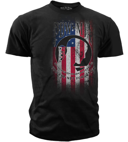 Black Ink T-Shirt - POW/MIA - You Are Not Forgotten Red White & Blue American Pride (MT-670) - Hahn's World of Surplus & Survival