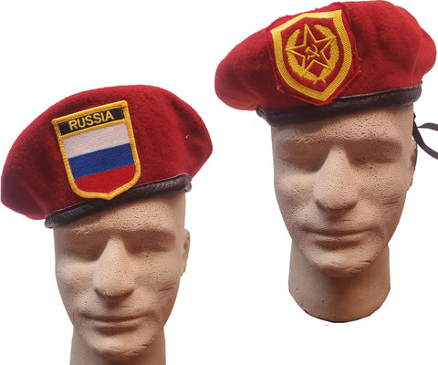 Vintage Russian Berets w/Leather Sweatband