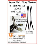 Wesol Super Shirt Stay Garter Stirrup Style w/Center Pin
