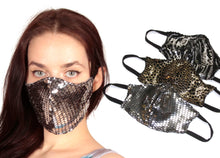 Load image into Gallery viewer, Limited Edition Adult Face Mask - Animal Print Sequinista Mask