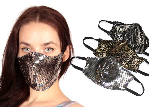 Limited Edition Adult Face Mask - Animal Print Sequinista Mask