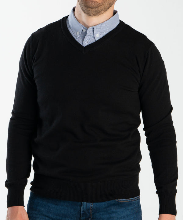Black Sweater With Micro Gingham Collared Shirt