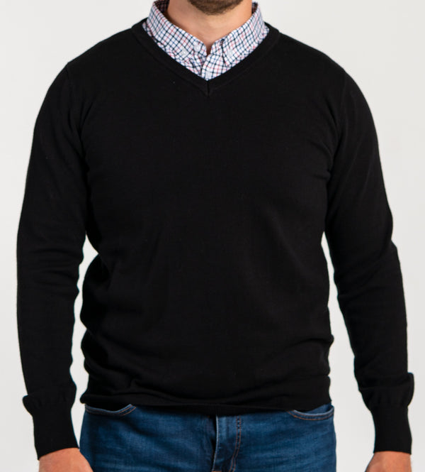 Black Sweater With Multicolor Gingham Collared Shirt