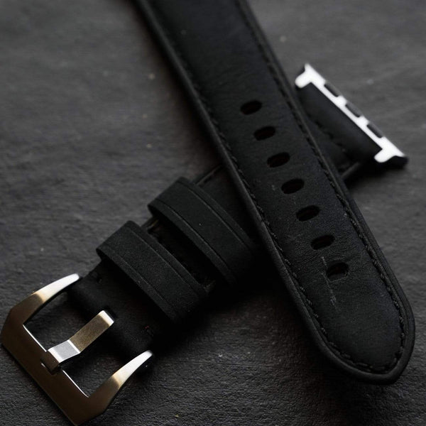 Leather Apple Watch Strap - Black Edition
