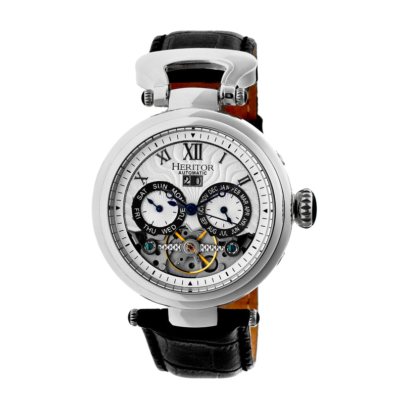 Heritor Automatic Ganzi Semi-Skeleton Leather-Band Watch