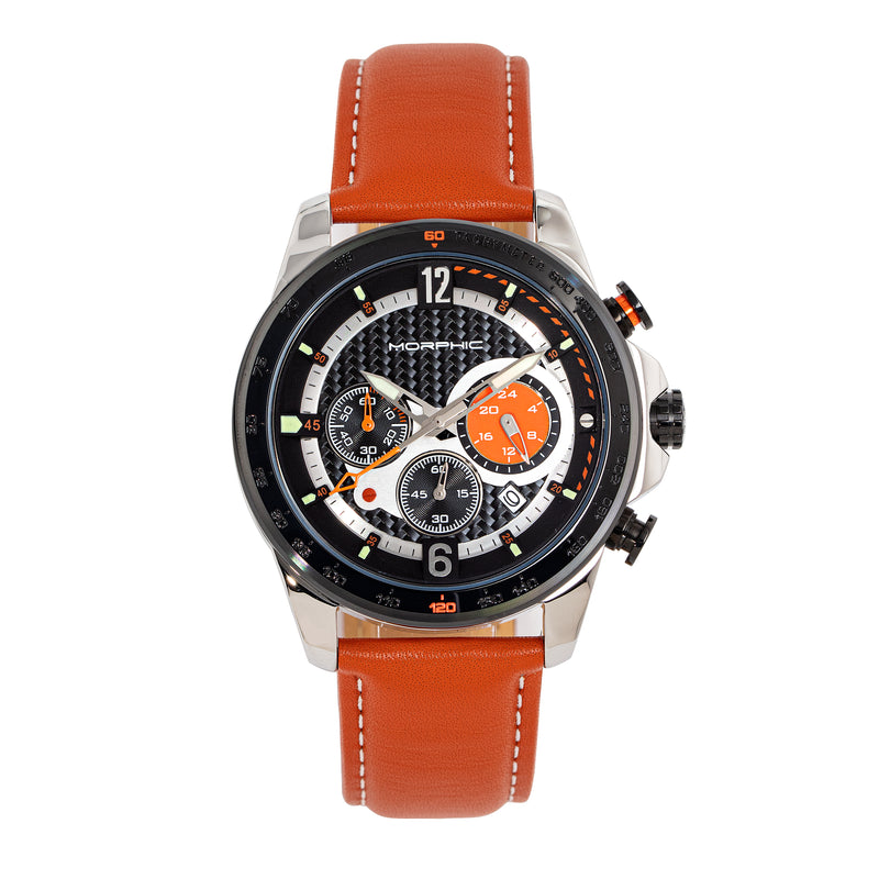 Morphic M88 Series Chronograph Leather-Band Watch with Date
