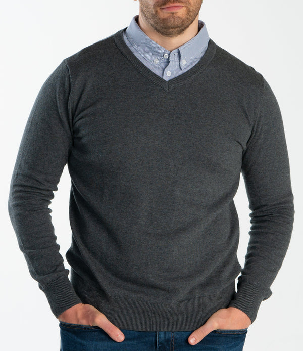 Grey Sweater With Micro Gingham Collared Shirt