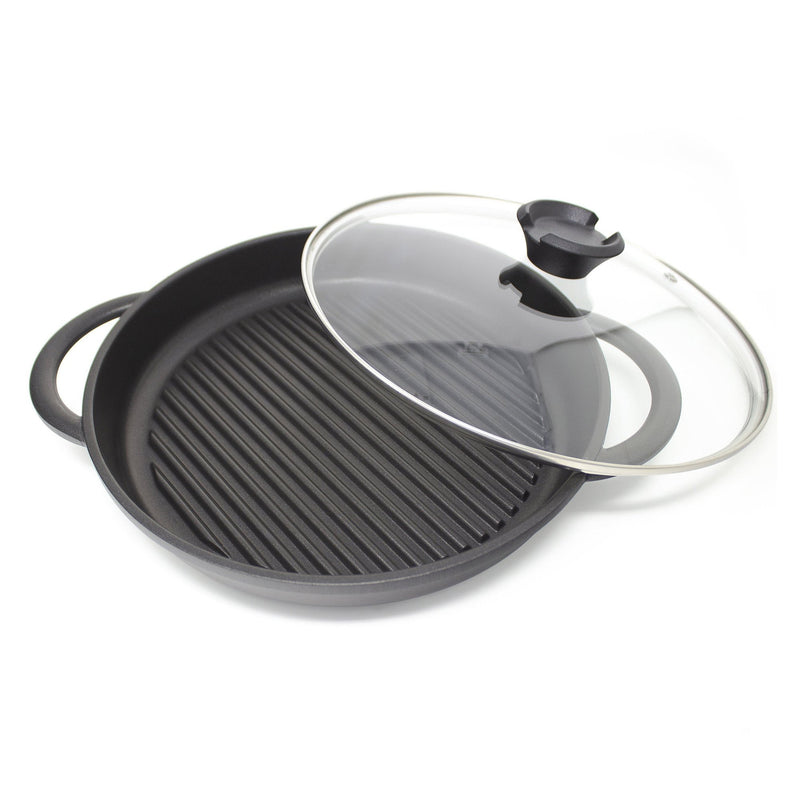 The Whatever Pan - Cast Aluminium Griddle Pan with Glass Lid