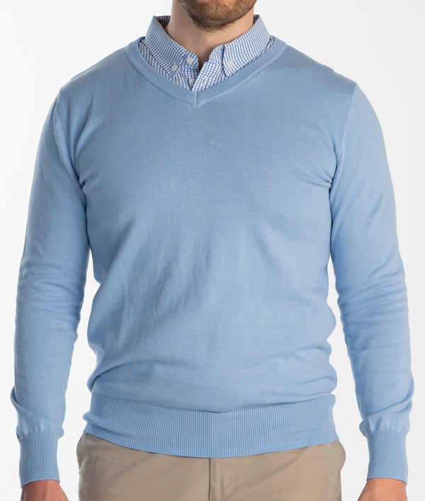 Light Blue Sweater With Light Blue Gingham Collared Shirt