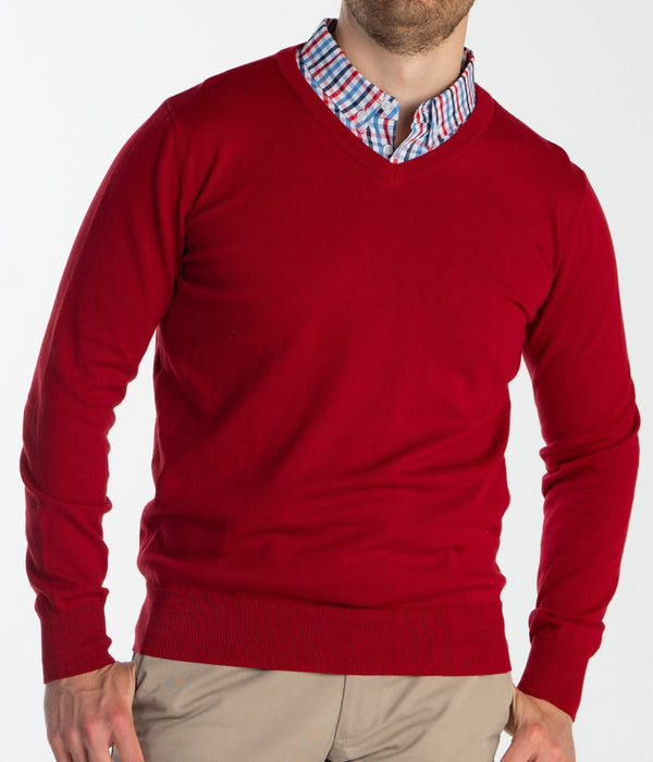 Red Sweater With Multicolor Gingham Collared Shirt