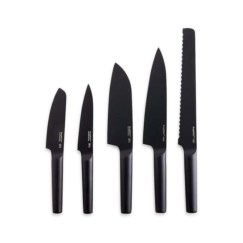 Ron 6-Piece Matte Black Knife Set with Linear Block