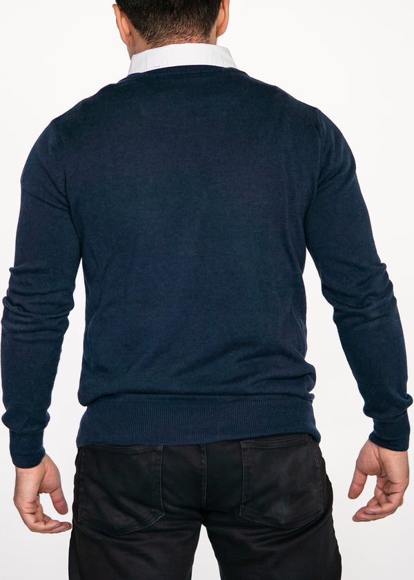 Sapphire Sweater with White Collared Shirt