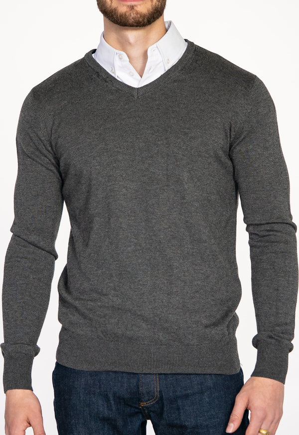 Grey Sweater with White Collared Shirt