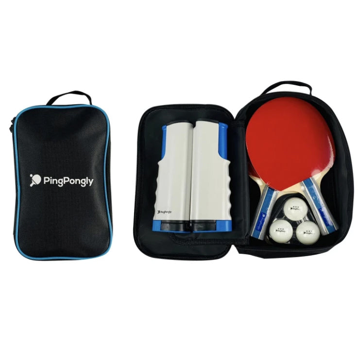PingPongly™ Retractable Table Tennis Net, 2 Paddles, 3 Balls and Case