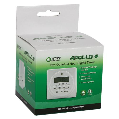 Titan Controls Apollo 9 120V -Two Outlet Digital Timer