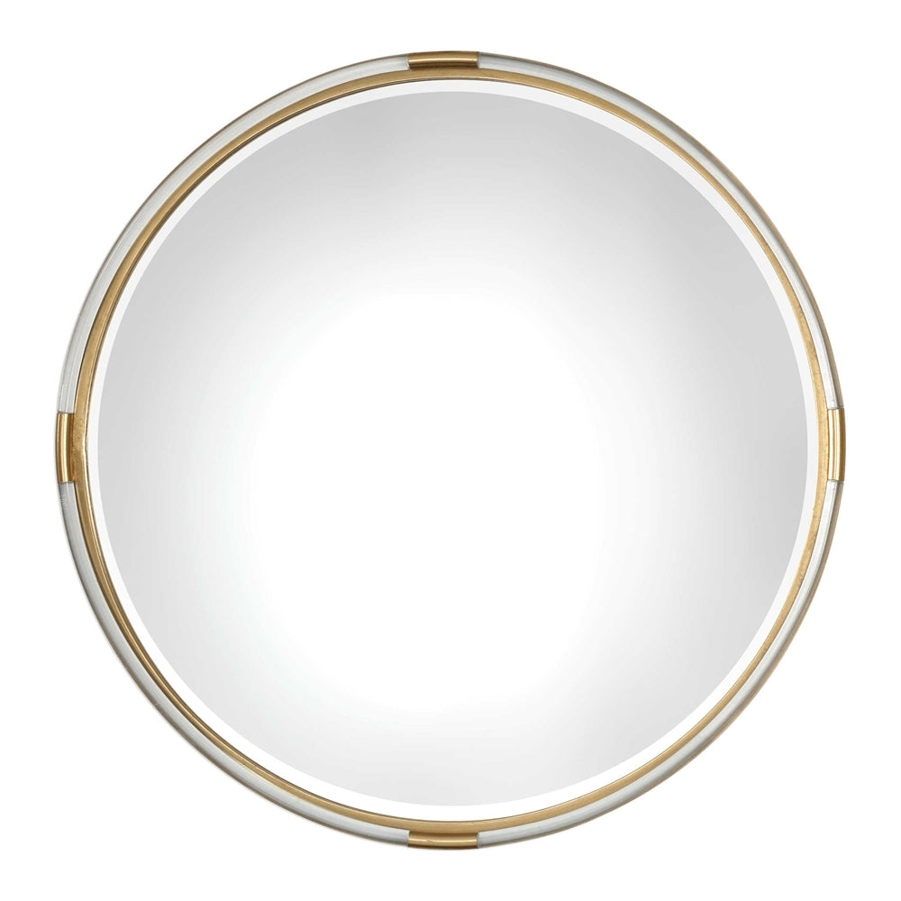 Gold and Acrylic Round Mirror