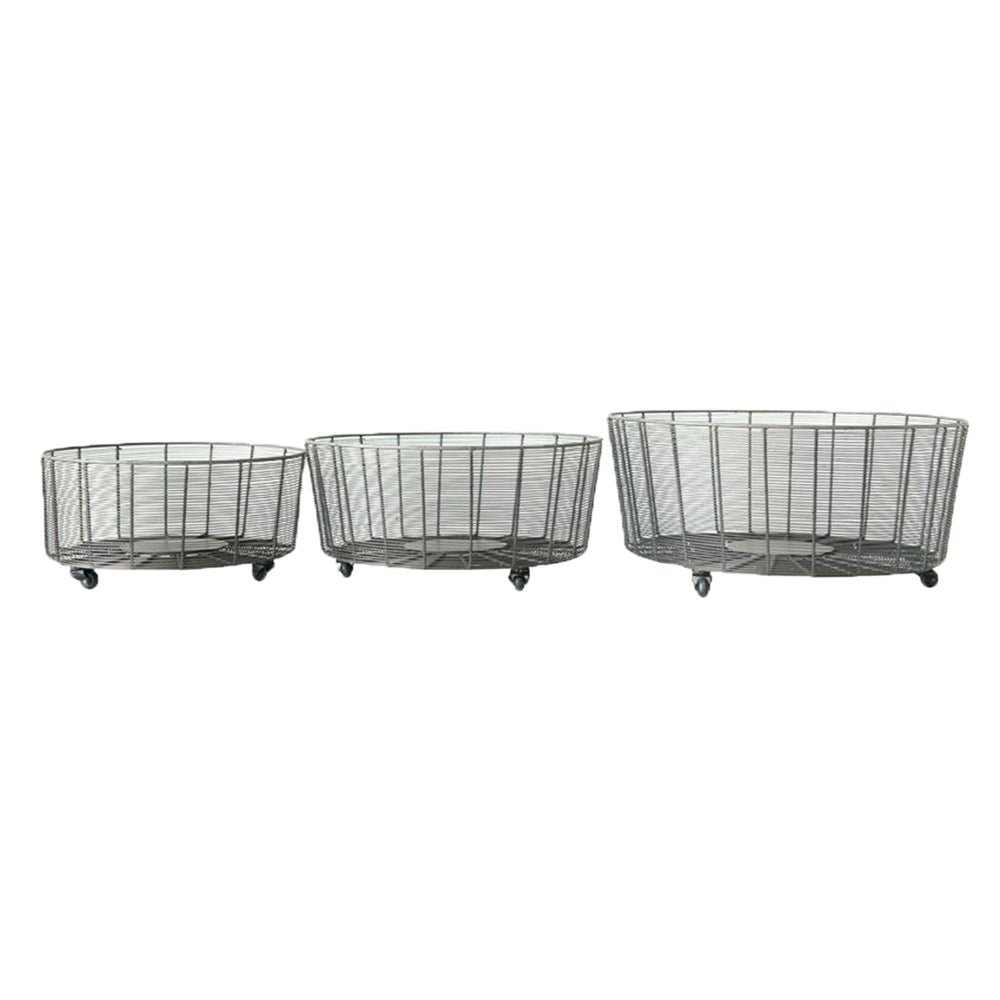Set of 3 Metal Baskets on Casters