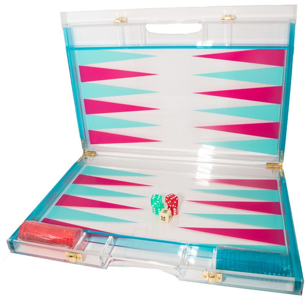 Acrylic Blue and Pink Backgammon Game