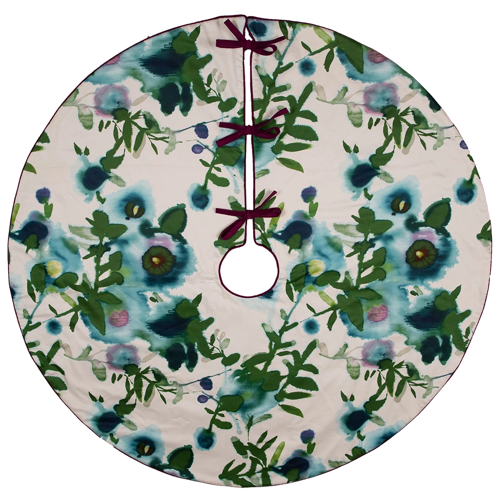Dwell Chic-Blue and Purple Watercolor floral treeskirt-Tree Skirt