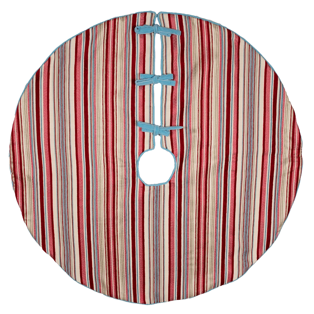 Dwell Chic-Red, Pink and Blue Striped Tree Skirt-Tree Skirt
