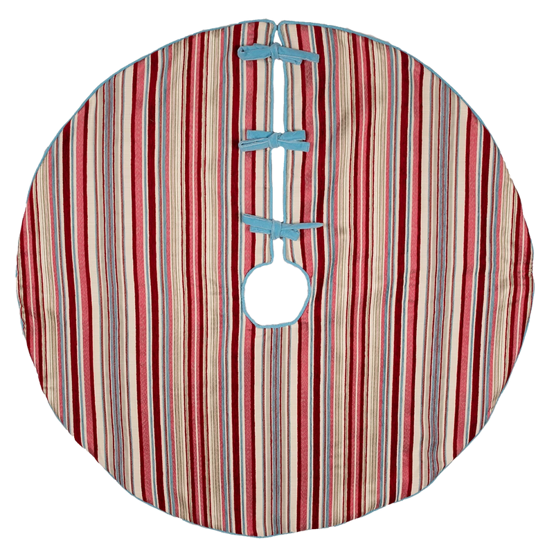 Red, Pink and Blue Striped Tree Skirt