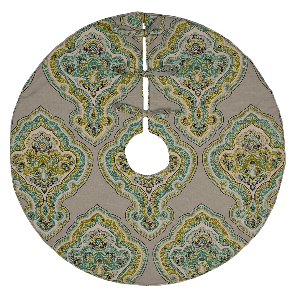 Dwell Chic-Lime Green and Aqua Blue Patterned Tree Skirt-Accessories