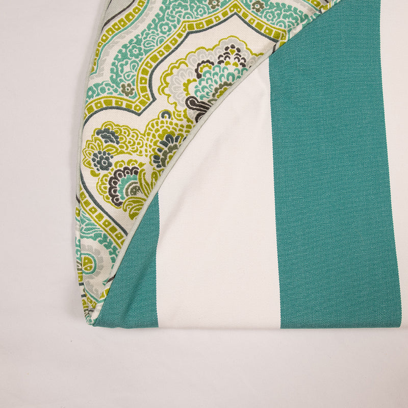 Lime Green and Aqua Blue Patterned Tree Skirt