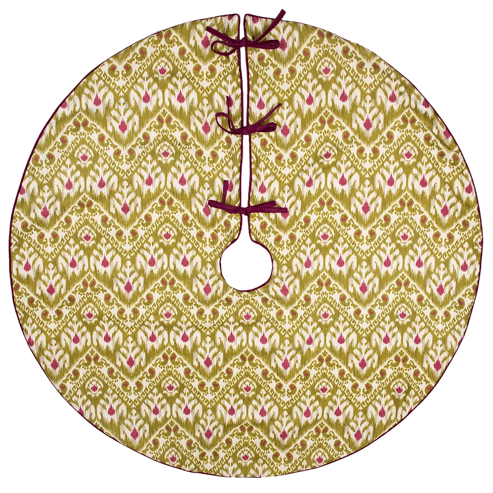 Green and Purple Ikat Patterned Tree Skirt