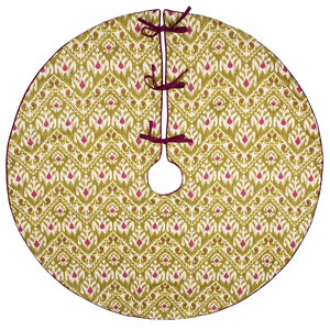 Dwell Chic-Green and Purple Ikat Patterned Tree Skirt-Tree Skirt
