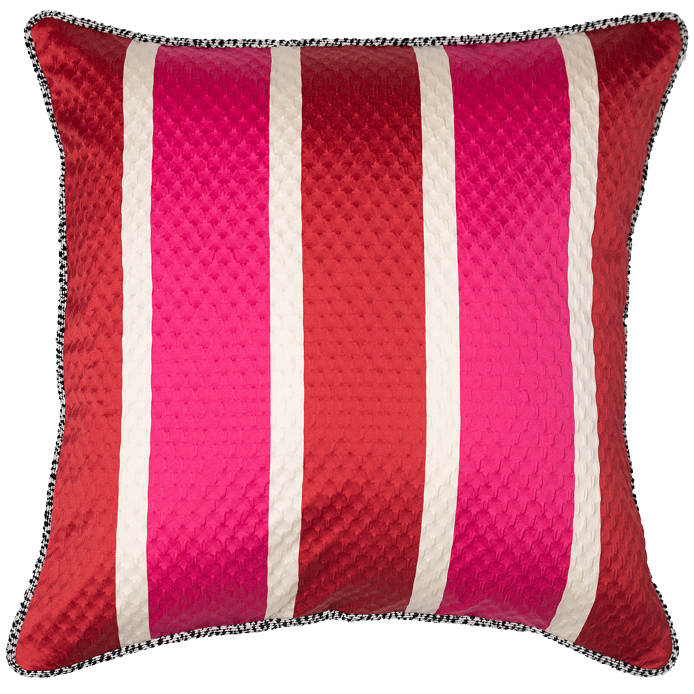 Pink and Red Striped Pillow