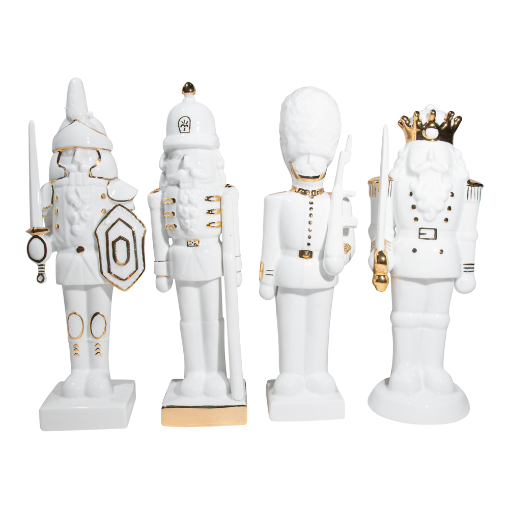Dwell Chic-White and Gold Christmas Nutcrackers-Decorative Accents