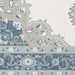 Dwell Chic-Aqua and Taupe Turkish Inspired Rug-Rug