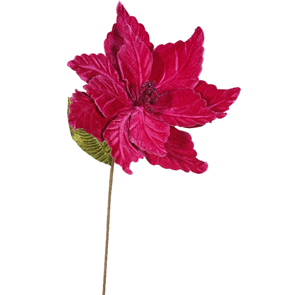 Dwell Chic-Cerise Poinsettia Christmas Pick-Ornament