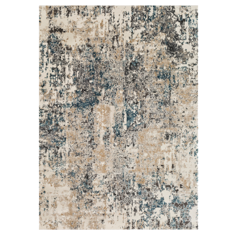 Charcoal and Taupe Abstract Printed Rug