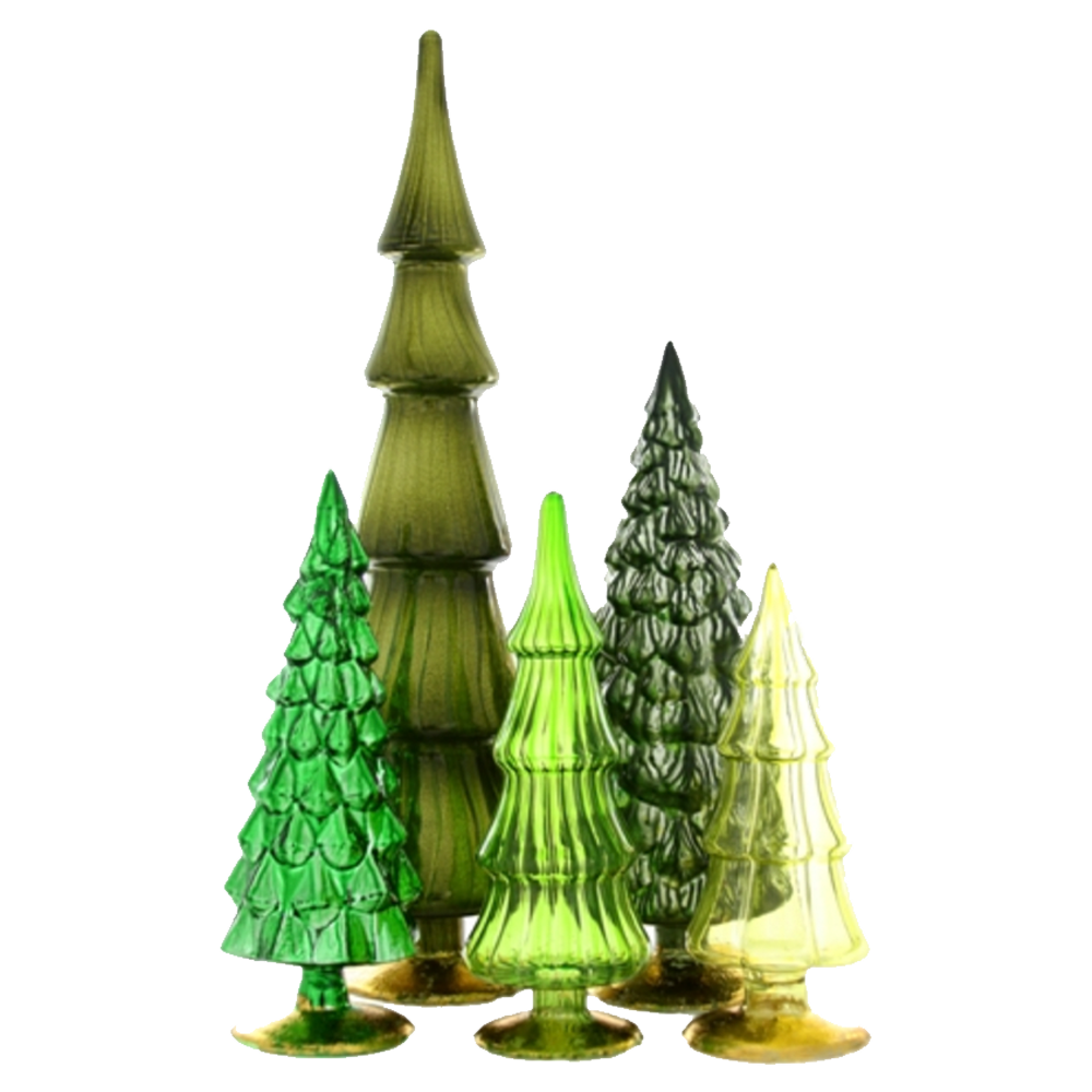 Dwell Chic-Color Me Green Standing Glass Trees-Ornament