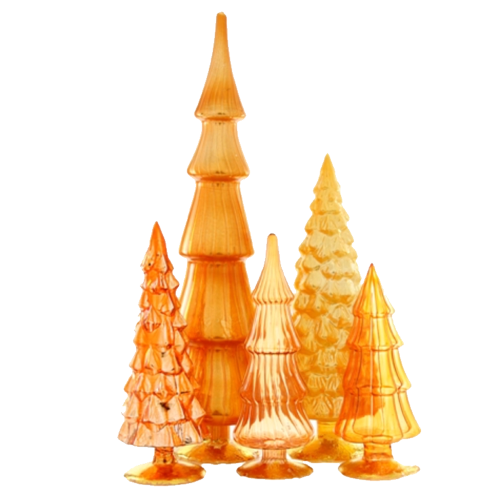 Dwell Chic-Color Me Orange Standing Glass Trees-Ornament