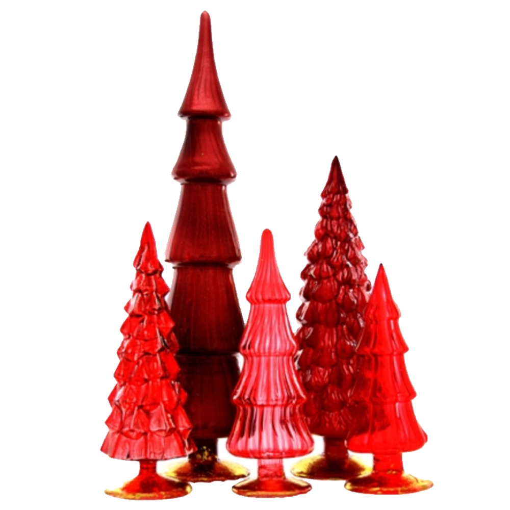 Dwell Chic-Color Me Rouge Standing Glass Trees-Ornament