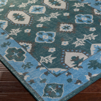 Dwell Chic-Dark Green and Sky Blue Wool Damask Rug-Rug