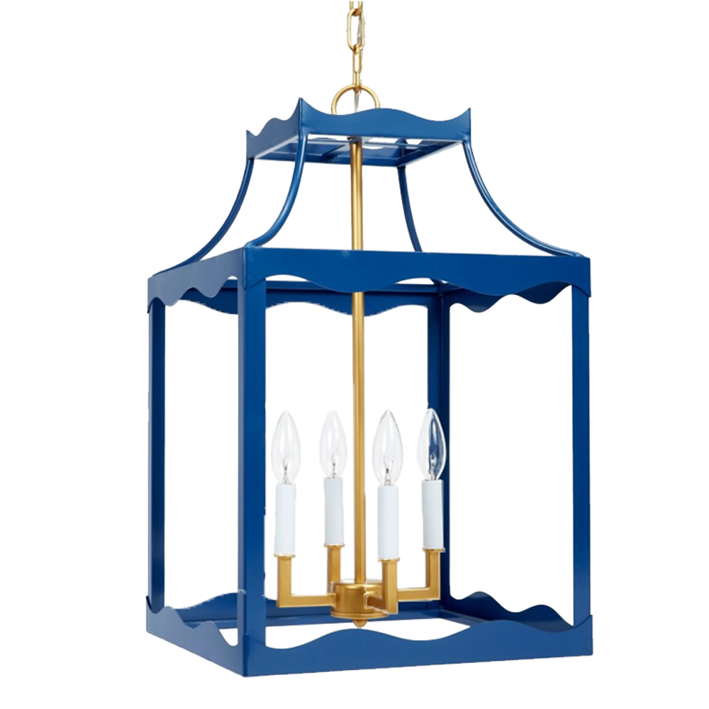 Dwell Chic-Don't Be Blue! Hanging Lantern with Gold Accents-Lighting