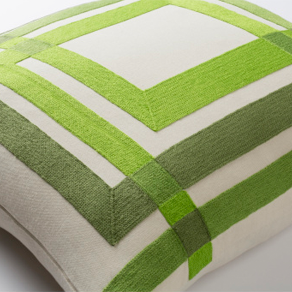 Dwell Chic-Geometric Squares Lime Pillow-Pillow