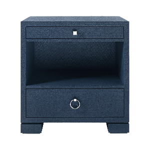 Dwell Chic-Grasscloth Navy Two Drawer Side Table- Pick up in store only-Side Table