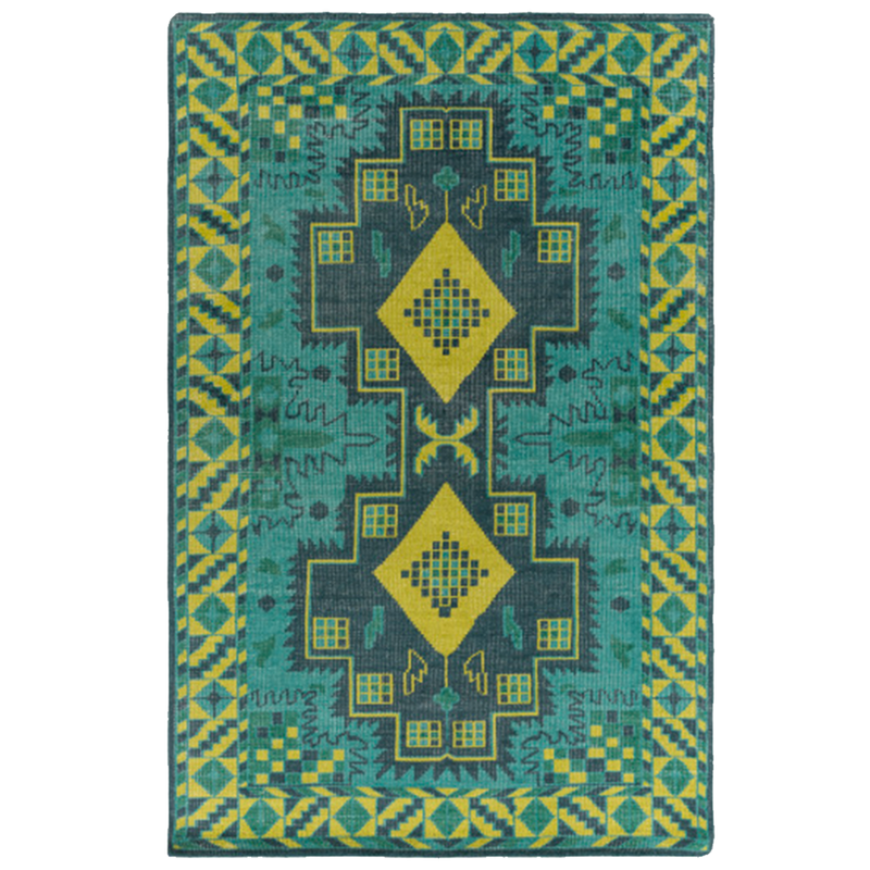 Dwell Chic-Green and Blue Aztec Rug-Rug