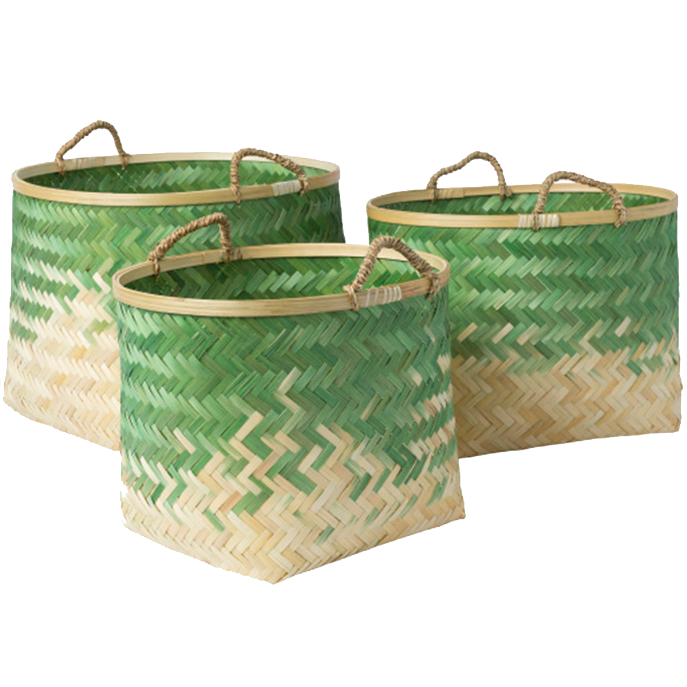 Dwell Chic-Green Ombre Bamboo Basket-Basket
