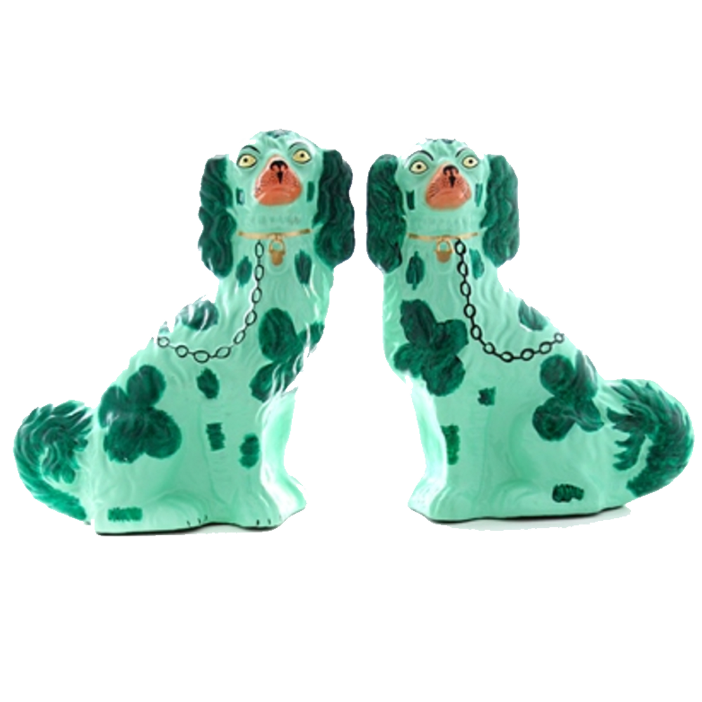 Green Staffordshire Pup Figurine Set